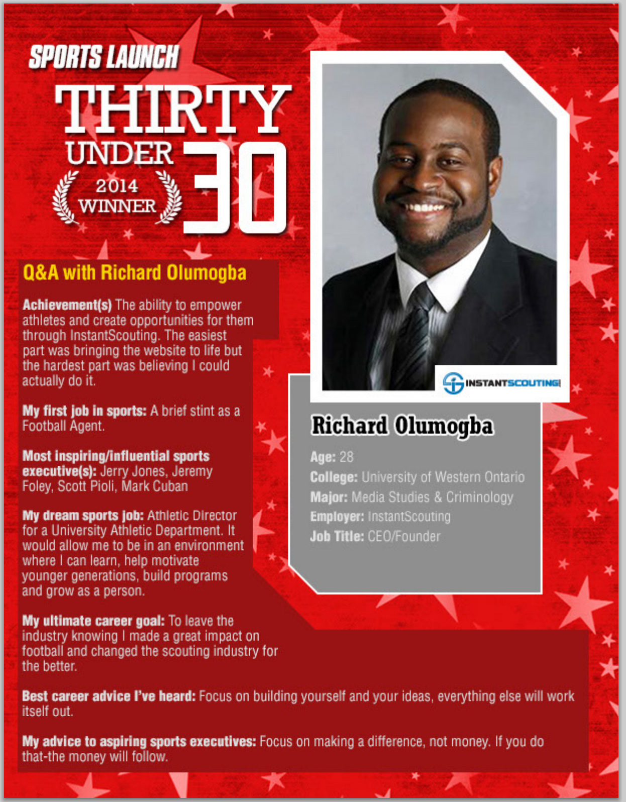 Sports Launch Magazine 30 under 30 Richard Olumogba 2014 winner